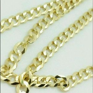 """NEW Real 10K Gold Cuban Chain 22"""" Men's Necklace"""